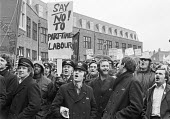 Post Office workers lobby their union (UPW) against casualisation, suspicious of a sell-out, London 1979 - NLA - 29-03-1979