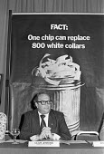 Clive Jenkins ASTMS warning of job losses from new technology, press conference, London 1979 - NLA - 17-09-1979
