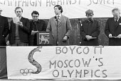 London 1980 John Gouriet (C) Vladimir Bukovsky, a Soviet dissident, Boycott the Moscow Olympic Games Rally in protest at the Soviet invasion of Afghanistan. Major John Gouriet is one of the founders o... - NLA - 1980,1980 Summer Olympics boycott,1980s,activist,activists,against,banner,banners,Boycott,campaign,campaigning,CAMPAIGNS,CCCP,DEMONSTRATING,Demonstration,Far Right,Far Right,Freedom,game,games,John Go