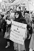 Muslim student solidarity protest, London 1980 in protest at the Soviet invasion of Afghanistan - NLA - 1980,1980s,activist,activists,Afghanistan,against,CAMPAIGNING,CAMPAIGNS,DEMONSTRATING,Demonstration,dress,FEMALE,hajib,hajibs,headscarf,hijab,hijabs,Iranian revolution,ISLAM,ISLAMIC,London,moslem soli