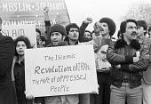 Protest in support of the Iranian Revolution, London 1979 - NLA - 1970s,1979,activist,activists,against,CAMPAIGNING,CAMPAIGNS,DEMONSTRATING,Demonstration,Iran,Iranian,Iranian revolution,Khomeiny,London,people,person,persons,placard,placards,Protest,PROTESTER,PROTEST