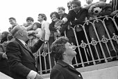 Harold Wilson arriving to give an election speech, 1970 - NLA - 1970,1970s,ARRIVAL,arrivals,arrive,arrives,arriving,Asian,Asians,BAME,BAMEs,Black,Black and White,BME,bmes,campaign,campaigning,CAMPAIGNS,DEMOCRACY,diversity,ELECTION,election 1970,elections,ethnic,et