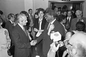 Dr David Pitt, Labour candidate for Clapham, 1970 shaking hands with Conservative William Shelton, who won unexpectedly in the safe Labour seat. Racism had been a factor in the result. An anonymous le... - NLA - 16-06-1970