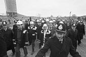 Margaret Thatcher visiting the Selby coalfield, 1980 surrounded by police, Wistow colliery, Yorkshire - NLA - 14-03-1980