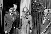 General Zia-ul-Haq president of Pakistan visiting Margaret Thatcher, 1980, Downing Sreet, London after staging a military coup in 1978 removing President Bhutto - NLA - 1980,1980s,Bhutto,CONSERVATIVE,Conservative Party,conservatives,FEMALE,London,Margaret Thatcher,military,military coup,Pakistan,people,person,persons,POL,political,POLITICIAN,POLITICIANS,Politics,Pres