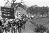 Anti nuclear protest march from Thrapston to RAF Molesworth where US nuclear cruise missiles were to be stationed by USAF 303d Tactical Missile Wing - NLA - peace movement,1980,1980s,activist,activists,against,airforce,american,americans,Anti nuclear protest,Anti War,Antiwar,armed forces,atomic,banner,banners,Campaign for nuclear disarmament,campaigner,ca