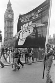 CND protest against cruise missiles being stationed in the UK, London 1980 - NLA - peace movement,1980,1980s,activist,activists,against,Anti War,Antiwar,banner,banners,Campaign for nuclear disarmament,CAMPAIGNING,CAMPAIGNS,CND,cruise,Cruise missile,Cruise missiles,DEMONSTRATING,Demo