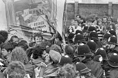 Police arresting NUM members, protest at Welsh Conservative Party Conference, 1980 Swansea, South Wales - NLA - 1980,1980s,activist,activists,adult,adults,against,ARREST,ARRESTED,arresting,banner,banners,CAMPAIGNING,CAMPAIGNS,Conference,conferences,DEMONSTRATING,Demonstration,NUM,Party,police,POLICING,Protest,P