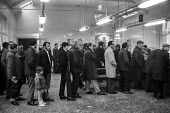 Queueing for unemployment benefit office, Glasgow Dole office 1971 - Martin Mayer - 1970s,1971,benefit,benefit office,benefits,child,CHILDHOOD,children,cities,City,DAD,DADDIES,DADDY,DADS,daughter,DAUGHTERS,Dole,employee,employees,Employment,employment exchange,FAMILY,father,FATHERHOO