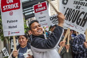 Oakland, California, USA Unite Here Hotel workers on strike against low wages, Palace Hotel. Many workers take an additional job to make a living wage. Workers are striking Marriott Hotels in eight ci... - David Bacon - 04-10-2018
