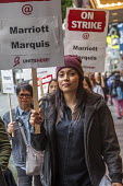 Oakland, California, USA Unite Here Hotel workers on strike against low wages, Marriott Marquis Hotel. Many workers take an additional job to make a living wage. Workers are striking Marriott Hotels i... - David Bacon - 04-10-2018