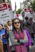 Oakland, California, USA Unite Here Hotel workers on strike against low wages, St. Francis Hotel. Many workers take an additional job to make a living wage. Workers are striking Marriott Hotels in eig... - David Bacon - 04-10-2018