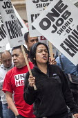 Oakland, California, USA Unite Here Hotel workers on strike against low wages, Marriott Union Square Hotel. Many workers take an additional job to make a living wage. Workers are striking Marriott Hot... - David Bacon - 04-10-2018