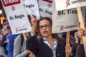 Oakland, California, USA Unite Here Hotel workers on strike against low wages, St. Regis Hotel. Many workers take an additional job to make a living wage. Workers are striking Marriott Hotels in eight... - David Bacon - 04-10-2018