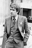 Denis Lemon, editor of Gay News, Gay News blasphemy trial, The Old Bailey, London 1977 after the magazine published the poem ^The love that dares to speak its name^. The case was brought by Mary White... - Peter Arkell - 1970s,1977,activist,activists,against,Belief,blasphemous libel,blasphemy trial,campaign,campaigning,CAMPAIGNS,Censored,Censorship,conviction,court,court case,courts,DEMONSTRATING,Demonstration,Denis L