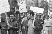 George Davis is Innocent campaign: Peter Hain (L) George Davis (C) after his release from prison, JAIL protest 1976 to highlight other miscarriages of justice, Thomas Madgin - Peter Arkell - 23-05-1976