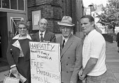 Hanratty family campaigning for a pardon for James Hanratty, 1976 convicted and hung for the A6 murder and rape. DNA analysis subsequently found that his conviction was probably correct. He was one of... - Peter Arkell - 1970s,1976,A6 murder,activist,activists,against,analysis,campaign,campaigning,CAMPAIGNS,capital,capital punishment,DEMONSTRATING,Demonstration,DNA,families,family,FEMALE,JAIL conference,James Hanratty