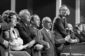 Harold Wison (2nd L) linking arms and singing Auld Lang Syne 1972 Labour Party conference - Peter Arkell - 06-10-1972