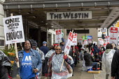 Detroit, Michigan USA Marriott Hotel workers strike against low pay Westin Book Cadillac hotel. Workers want better wages, so they do not have to work more than one job - Jim West - 2010s,2018,activist,activists,African American,African Americans,against,America,BAME,BAMEs,BEMM,BEMMS,black,BME,bmes,Book Cadillac,CAMPAIGNING,CAMPAIGNS,DEMONSTRATING,demonstration,Detroit,DISPUTE,di