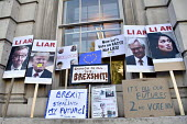 Peoples Vote March for the Future. London protest demanding a second referendum on the Brexit deal. Placards left on the Cabinet Office in Whitehall with anti-Brexit slogans - Stefano Cagnoni - 20-10-2018