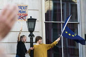 Peoples Vote March for the Future. London protest demanding a second referendum on the Brexit deal. Young protestors shout their message from Government buildings in Whitehall - Stefano Cagnoni - 20-10-2018