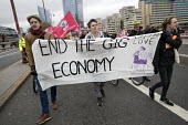 Rise of precarious workers protest, supporting Uber drivers for employment rights in the High Court, organised by IWGB trade union, London. End the gig economy - Jess Hurd - 30-10-2018
