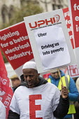 Rise of precarious workers protest, supporting Uber drivers for employment rights in the High Court, organised by IWGB trade union, London - Jess Hurd - 30-10-2018