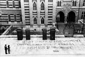 Women Against Rape Grafitti, High Court. The Strand, London 1979. What Justice for Women? Queen's Guard Rapist freed! Dismiss the Judges! - Begonia Tamarit - 1970s,1979,activist,activists,Against,CAMPAIGNING,CAMPAIGNS,cities,City,CLJ,court,court case,courts,Crime,Criminal Justice System,DEMONSTRATING,Demonstration,FEMALE,Graffiti,grafitti,Guard,High Court,
