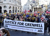 Stand Up To Racism protest London. Matt Wrack FBU with Justice For Grenfell campaigners - Stefano Cagnoni - 17-11-2018