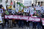 Stand Up To Racism protest demonstration London. Supporters of Brazilian democracy on the demonstration - Stefano Cagnoni - 17-11-2018