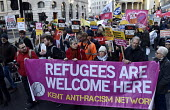 Refugees Are Welcome Here, Stand Up To Racism protest London - Stefano Cagnoni - 2010s,2018,activist,activists,against,anti,Anti Fascist,Anti Racism,anti racist,banner,banners,bigotry,black and white,CAMPAIGN,campaigner,campaigners,CAMPAIGNING,CAMPAIGNS,DEMONSTRATING,demonstration