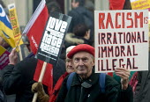 Stand Up To Racism protest London - Stefano Cagnoni - 2010s,2018,activist,activists,adult,adults,against,AGE,anti,Anti Fascist,Anti Racism,anti racist,bigotry,black and white,CAMPAIGNING,CAMPAIGNS,DEMONSTRATING,demonstration,DISCRIMINATION,ELDERLY,INEQUA