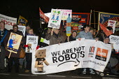 Amazon workers protest against working conditions, Black Friday, Rugeley, Staffordshire. We are not robots - John Harris - 23-11-2018