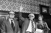 Michael Foot elected the new leader of the Labour Party, with his wife Jill Craigie and Ron Hayward, Parliament 1980 - Martin Mayer - 10-11-1980
