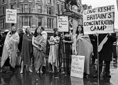 Troops Out Movement vigil; women wearing just blankets take part in a vigil in Trafalgar Square, London, in support of IRA hunger strikers, who refused to wear prison clothes - Martin Mayer - 10-12-1978