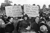 British Leyland workers Mass meeting, Longbridge, Birmingham, Workers protesting at wage freeze and calling on Terry Duffy and the AUEW to fight - NLA - 1980,1980s,AUEW,automotive,Birmingham,British Leyland,Car Industry,car worker,car workers,carindustry,DEMONSTRATION,DEMONSTRATIONS,EARNINGS,London,Longbridge,Mass,Mass Meeting,mass meetings,meeting,ME