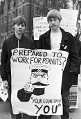 Civil servants protest for higher pay and against thousands of planned job losses, London 1981 - NLA - 1980s,1981,activist,activists,against,CAMPAIGNING,CAMPAIGNS,CCSU,Civil servants,CPSA,DEMONSTRATING,Demonstration,EARNINGS,Income,job losses,London,Lord Kitchener Wants You,low pay,Low Income,low paid,