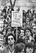 Civil servants, on April Fools Day 1981, strike and protest for a pay rise of 15% and for an end to thousands of planned job losses, London - NLA - 1980s,1981,activist,activists,against,April fool,BAME,BAMEs,Black,Black and White,BME,bmes,CAMPAIGNING,CAMPAIGNS,CCSU,Civil servants,CPSA,DEMONSTRATING,Demonstration,diversity,EARNINGS,ethnic,ethnicit