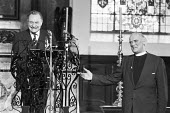 Enoch Powell Spirit Of The Nation Lecture, Reverend Basil Watson, 1981, St Lawrence Jewry Church, City of London. The official church of the Lord Mayor of London, the City of London Corporation and wh... - NLA - 1980s,1981,Belief,chaplain,christian,christianity,christians,church,Church of England,churches,cities,City,clegy,cofe,CONSERVATIVE,Conservative Party,conservatives,conviction,Enoch Powell,faith,Far Ri