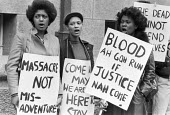 Youth protest at the New Cross Fire Inquiry, London 1981 - NLA - 1980s,1981,activist,activists,against,black youth,CAMPAIGNING,CAMPAIGNS,cities,City,DEMONSTRATING,Demonstration,Fire,fires,London,New Cross fire,people,person,persons,placard,placards,Protest,PROTESTE