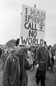 250,000 CND protest against the siting of USAF cruise missiles in the UK, London 1981 - NLA - peace movement,1980s,1981,activist,activists,against,airforce,armageddon,Armed Forces,Campaign for nuclear disarmament,CAMPAIGNING,CAMPAIGNS,CND,cruise,cruise missile,cruise missiles,DEMONSTRATING,Dem