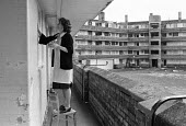 Tenant cleaning windows, poor housing estate, Toxteth, Liverpool 1981 - NLA - 26-10-1981