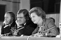 Margaret Thatcher with press secretary Bernard Ingham 1981, EEC press conference London - NLA - 27-11-1981