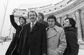 Valerie Wise, Ken Livingstone, John McDonnell, Charlie Ross and Michael Ward 1982 GLC councillors display their banner with the unemoployment figures at the top of County Hall opposite Parliament - NLA - 08-01-1982