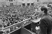 Ken Livingstone speaking Fares Fair protest 1982 at Law Lords decision to overturn the GLC policy of cheap fares for public transport, County Hall, London - NLA - 13-03-1982