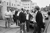Council workers confront Christopher Chope, Wandsworth Council leader 1982, strike against outsourcing and privatisation of council services, Wandsworth Town Hall, London - NLA - 18-05-1982