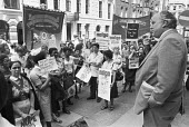 Health workers Day of Action 1978 lobby of the TUC, Norman Willis speaking, Congress House, London - NLA - 1970s,1978,activist,activists,against,ASLEF,CAMPAIGN,campaigner,campaigners,CAMPAIGNING,CAMPAIGNS,CWU,DEMONSTRATING,Demonstration,DEMONSTRATIONS,disputes,EARNINGS,Health,HEALTH SERVICES,Health Worker,