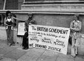 Mothers of Belfast IRA members subject to alleged army brutality, 1977 protest at Downing Street, London - NLA - 1970s,1977,activist,activists,against,banner,banners,Belfast mothers,Brian Stewart,brutality,CAMPAIGNING,CAMPAIGNS,catholic,catholics,Danny McCooey,DEMONSTRATING,Demonstration,Downing Street,imprisonm
