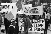 Prisoners Aid Committee protest for political status for IRA prisoners, London 1978 - NLA - 1970s,1978,activist,activists,against,banner,banners,CAMPAIGNING,CAMPAIGNS,catholic,catholics,DEMONSTRATING,demonstration,flag,flags,imprisonment,incarcerated,incarceration,INMATE,INMATES,IRA,Irish,ja