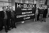 H-Block protest by members of Sein Fein picket Downing Street, London 1980, in protest at the H-Block prison at Long Kesh, Northern Ireland - NLA - 1980,1980s,activist,activists,against,banner,banners,CAMPAIGN,campaigner,campaigners,CAMPAIGNING,CAMPAIGNS,catholic,catholics,DEMONSTRATING,Demonstration,DEMONSTRATIONS,DISPUTE,DISPUTES,Downing Street